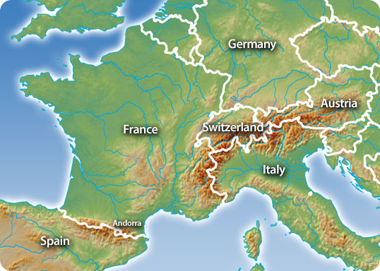 map of alps europe