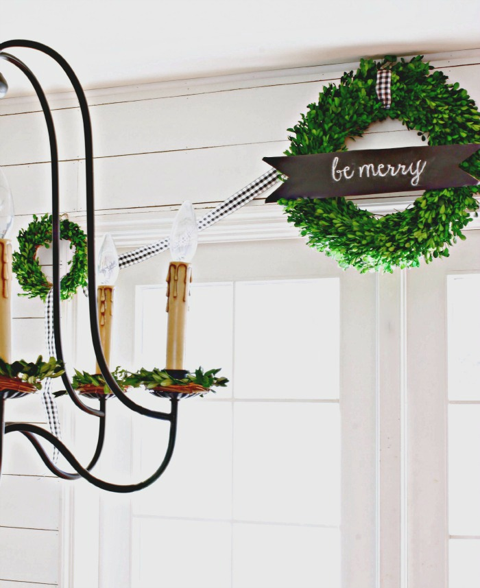Target Smith and Hawken boxwood wreath with chalkboard banner - www.goldenboysandme.com