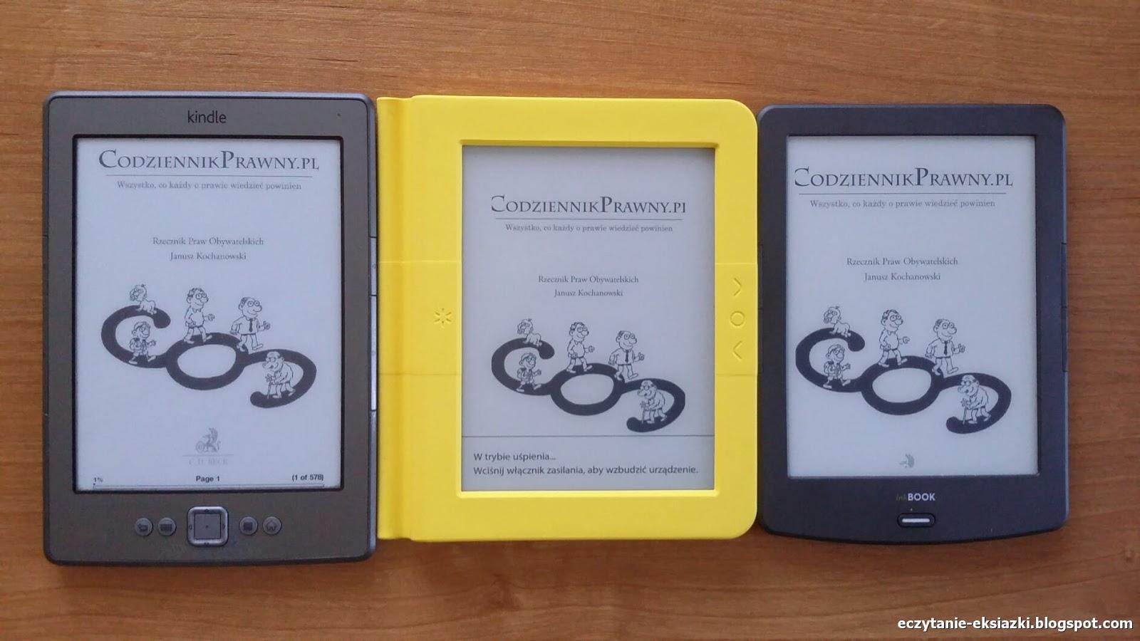 Porównanie ekranów - Kindle Classic, Bookeen Saga, InkBOOK Classic 2