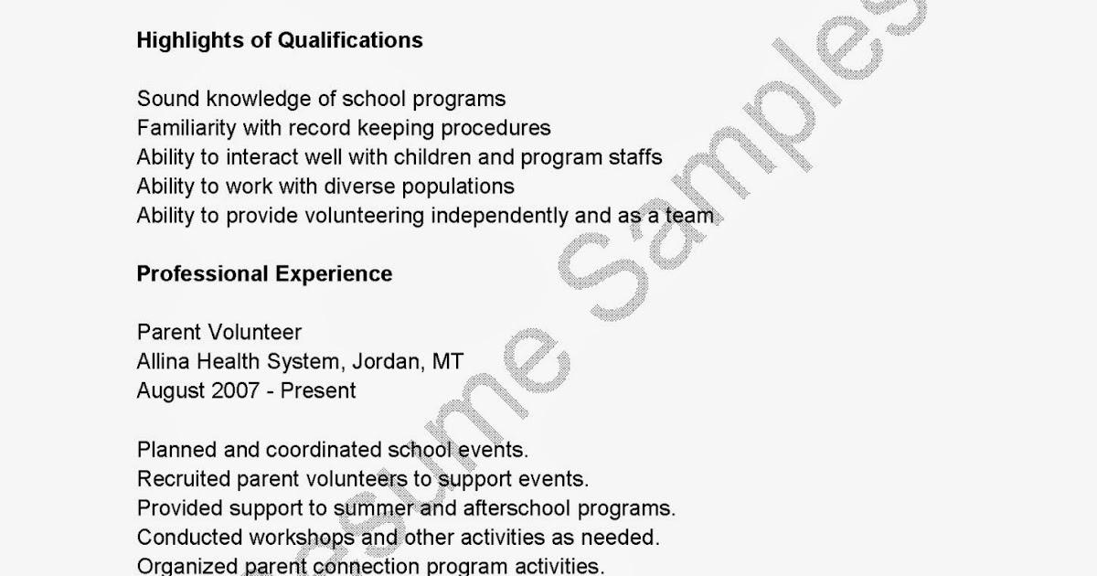 Resume Samples: Parent Volunteer Resume Sample