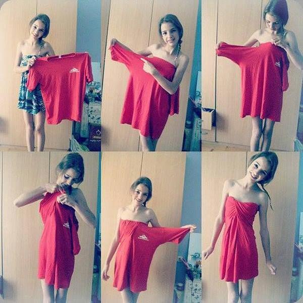 Preferenza DIY: Come trasformare una maglietta in un vestito senza tagliarla CK56