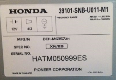 Honda Radio Codes