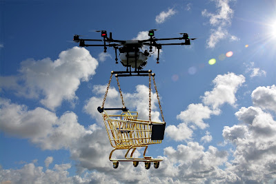 Drone delivering a golden shopping cart to a buyer