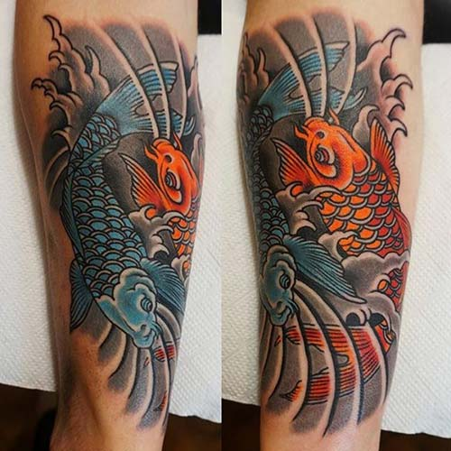 blue and orange koi fish tattoos koi balığı dövmeleri