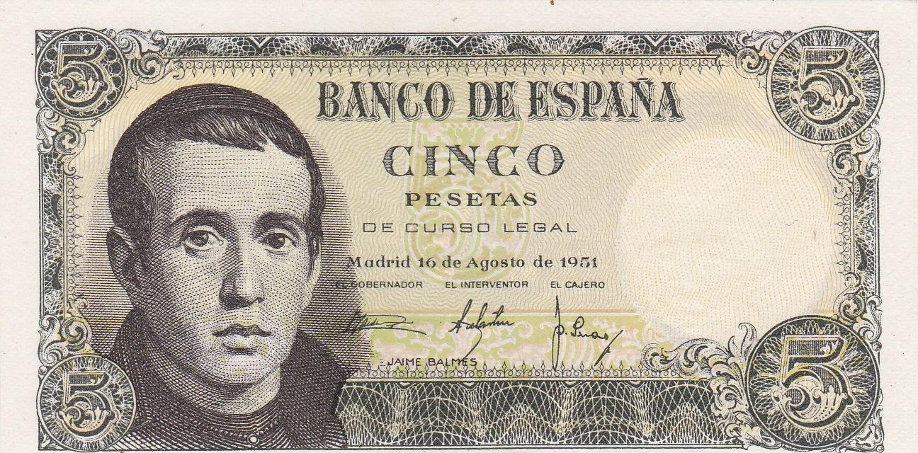 Spain Banknotes 5 Pesetas banknote 1951 Jaime Balmes