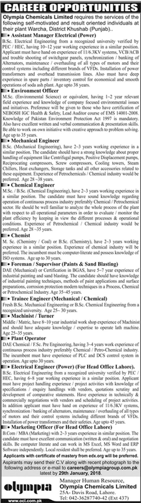Olympia Chemicals Limited Jobs Jan 2018