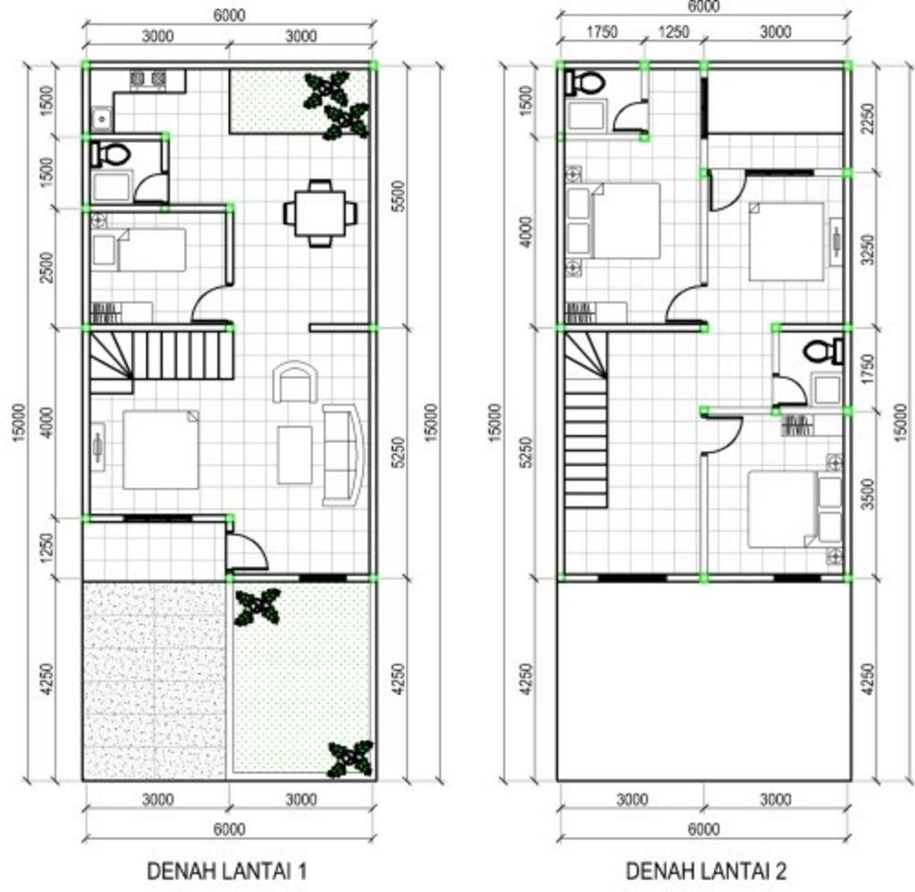 Rancangan Denah Rumah Minimalis 2 Lantai Tipe 100 Terkini