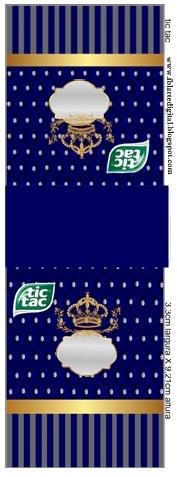 Etiqueta Tic Tac para imprimir gratis de Corona Dorada en Azul y Brillantes.