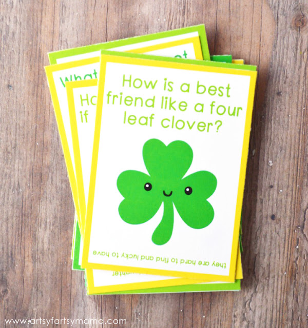 Free Printable St. Patrick's Day Lunch Box Jokes at artsyfartsymama.com