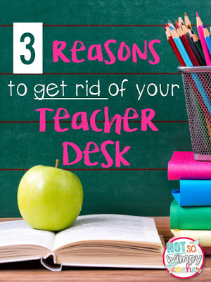 If you got rid of your teacher desk you would have more student space, br more organized and you would sit less.