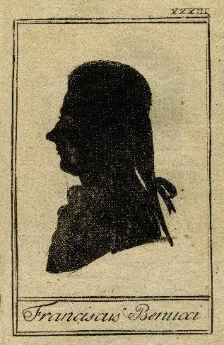 Portrait silhouette de Francesco Benucci, chanteur d'opéra