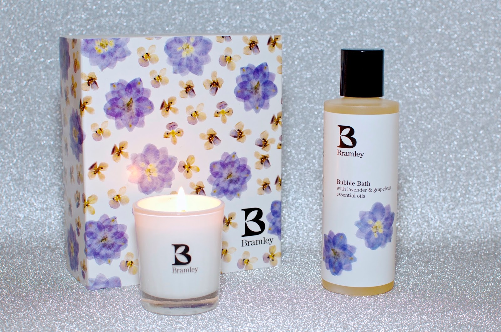 Candle and bubble bath with purple floral box