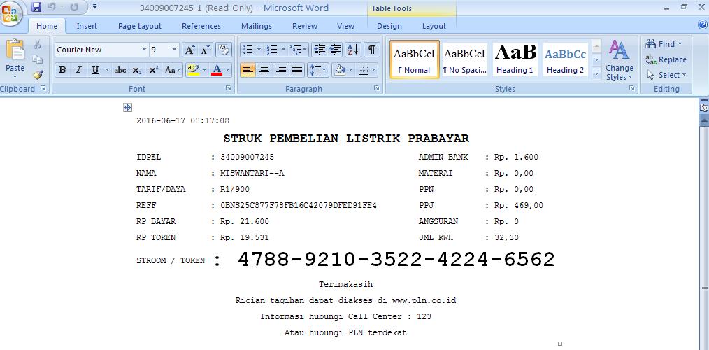 Cetak Struk Token Pln Prabayar Pulsa Listrik Rama Cellular