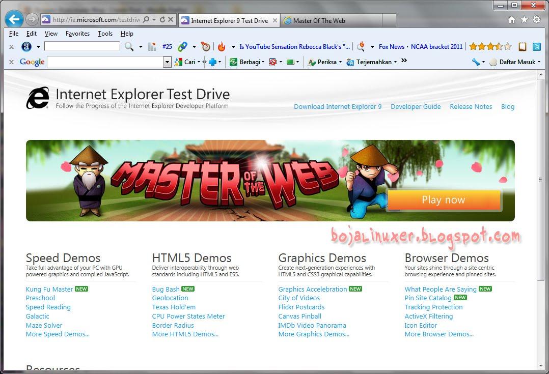 Internet Explorer 9 Ie9 Resmi Diluncurkan Dan Tersedia Untuk Download Bojalinuxer Blog