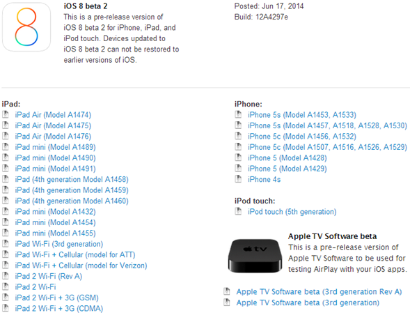 Apple iOS 8 Beta 2 Firmware Build 12A4297e