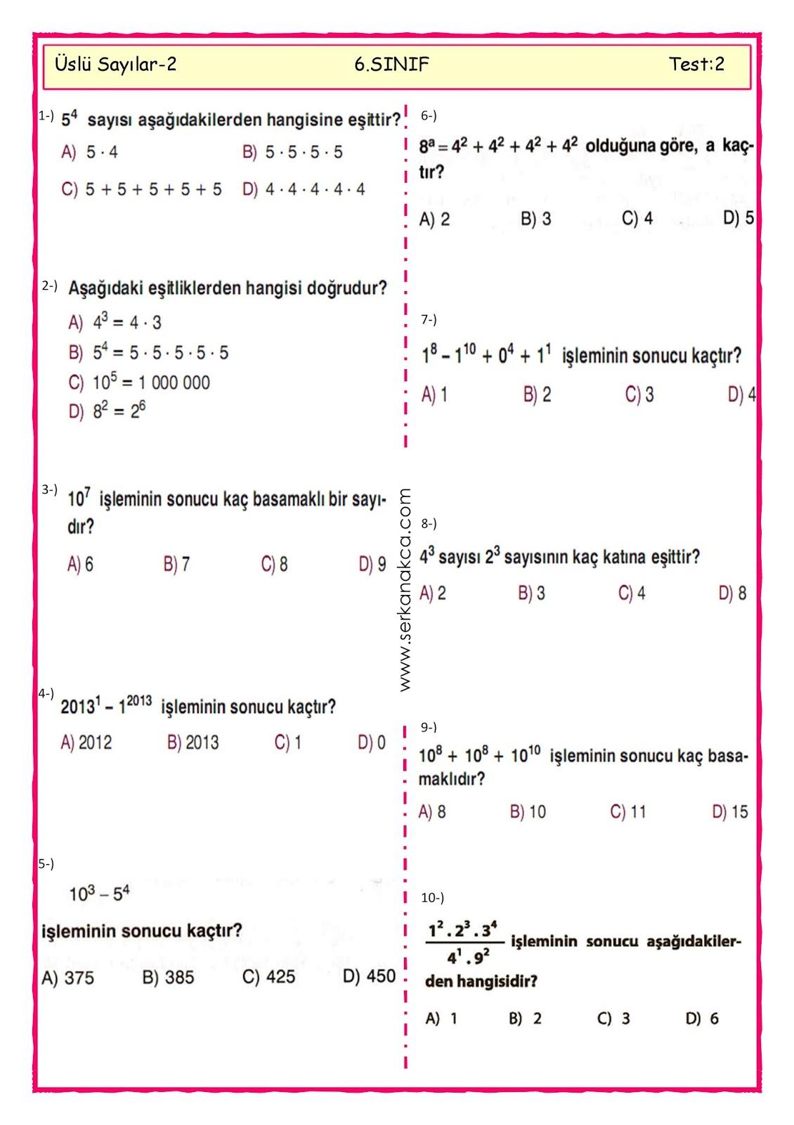 6 Sinif Uslu Sayilar Calisma Kagidi 2 Serkan Akca Matematik