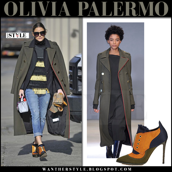 Olivia Palermo in green military admiral tibi coat and orange and green booties jimmy choo mitsu what she wore