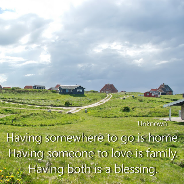 Having somewhere to go is home. Having someone to love is family. Having both is a blessing. - Unknown