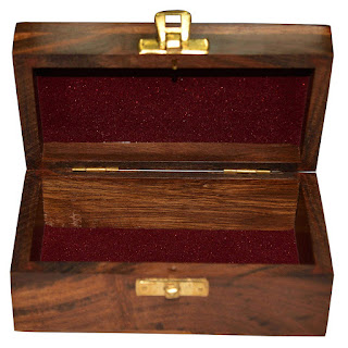 Handmade Jewellery Box Rectangular Shape Wood Carving with Floral Brass Inlay Design