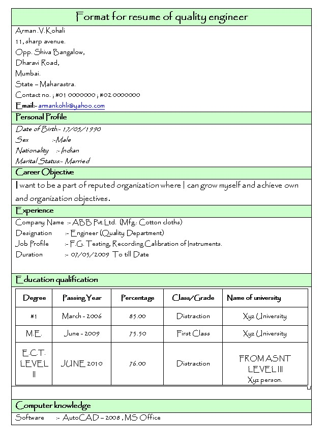 Best Resume For Fresher Mechanical Engineer. mechanical engineer ...