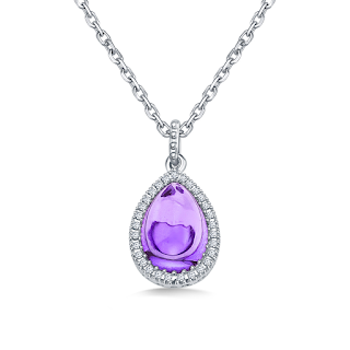 www.b2cjewels.com/gemstone-necklaces/mpcm0436/pear-amethyst-cabochon-diamond-pendant-in-14k-white-gold-10x7mm