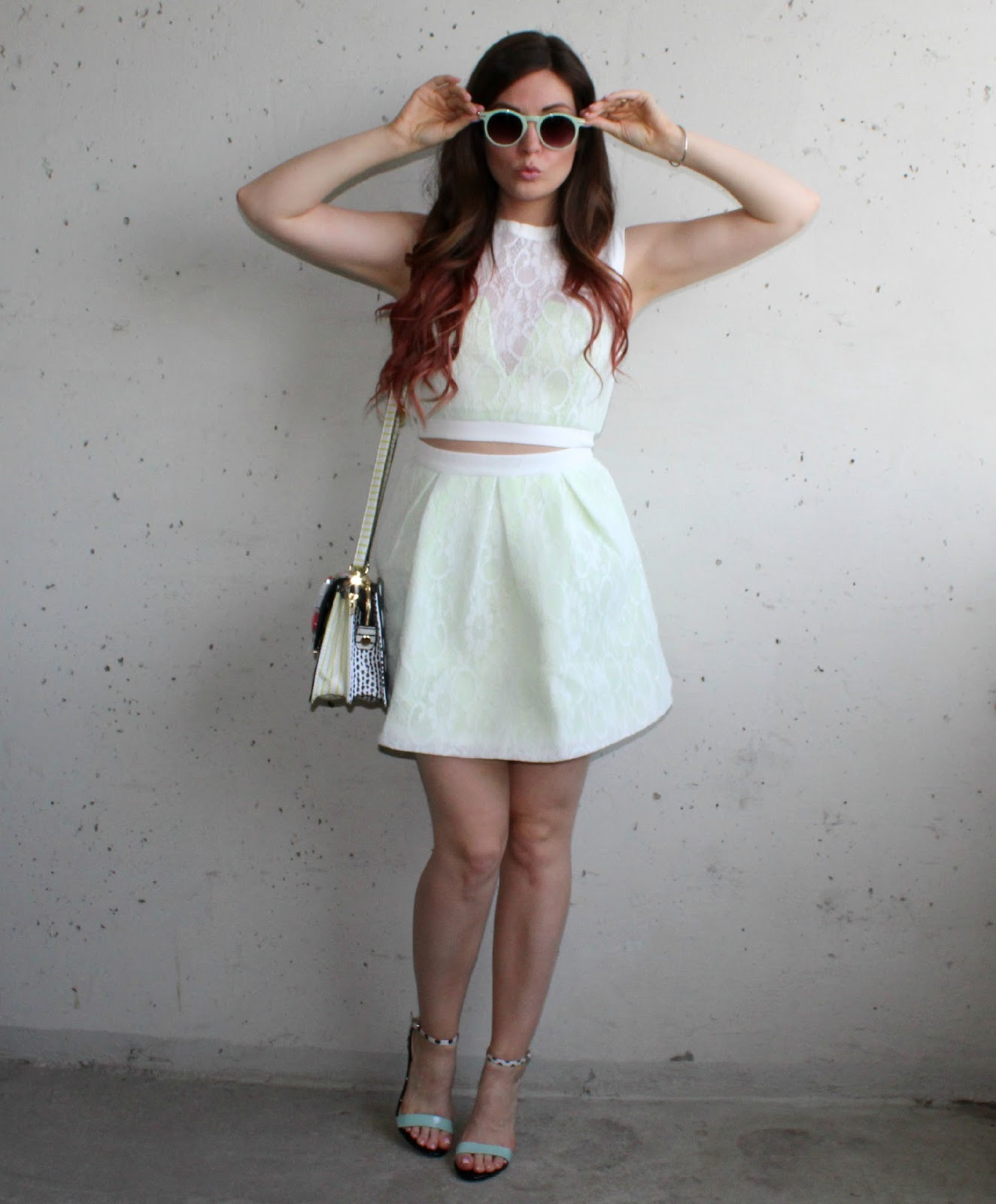 Crop Top and Skirt Combo, Aldo Strappy Heels