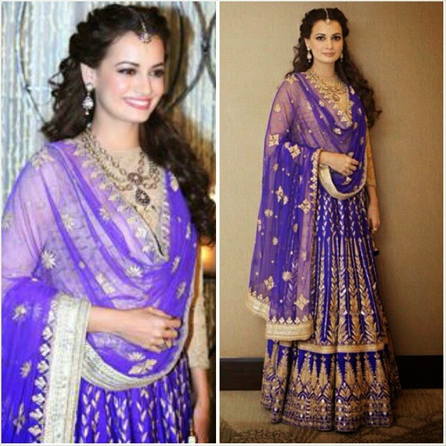 dia mirza (@deespeak) looked radiant in am anita dongre gottapatti lehenga for her engagement! shop anita dongre at jiva!  www.jivacouture.com   dia mirza, anita dongre, wedding, engage men , go tapat i, lehenga,  el les style, bollywood actress, bollywood fashion, indian fashion, indian couture, couture,  el le r i it, bollywood, style, fashion, indian wedding, indian bride, bridal wear, bridal lengha, insta la a, insta style,