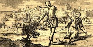 Arquímedes sorprendido por la presencia de un legionario romano, mientras estaba abstraído en sus pensamientos.