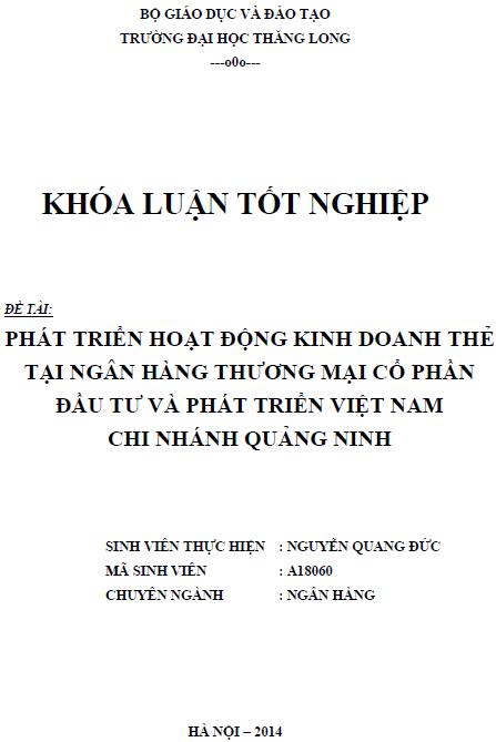 Phát triển hoạt động kinh doanh thẻ tại ngân hàng thương mại cổ phần đầu tư và phát triển Việt Nam Chi nhánh Quảng Ninh
