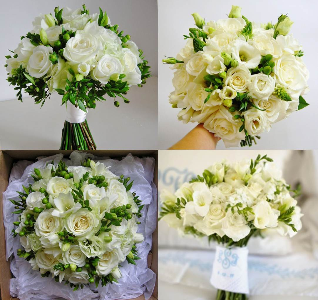 Designer Wedding Flowers: BonnieProjects: Elegant White And Green Wedding Bouquets