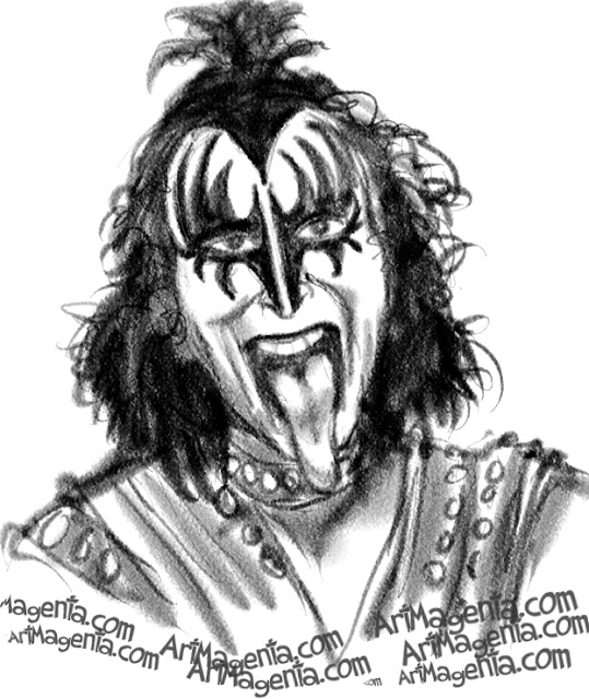 Gene Simmons caricature cartoon. Portrait drawing by caricaturist Artmagenta