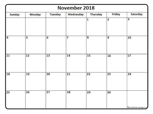 November 2018 PDF holiday calendar