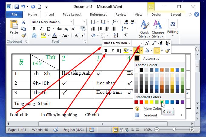 Cách thêm màu chữ trong bảng trong word