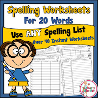 Spelling Worksheets for 20 Words