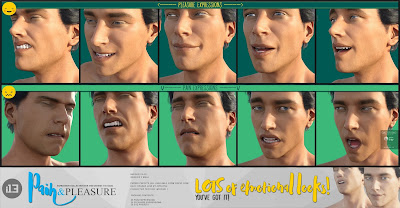 i13 Pain and Pleasure Expressions for the Genesis 3 Male