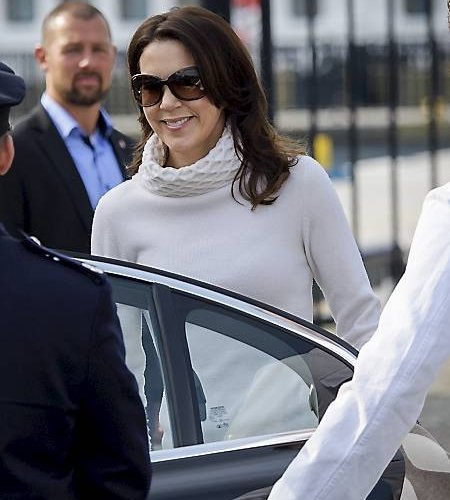 Crown Princess Frederik and Crown Princess Mary of Denmark depart the Royal Yacht Dannebrogen in Copenhagen
