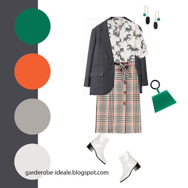 Серый жакет оверсайз с юбкой в клетку и блузкой с принтом