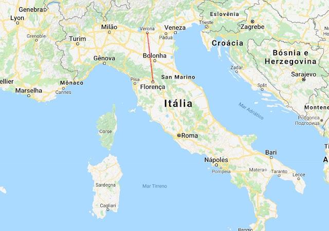 Mapa da viagem de Verona a Florença