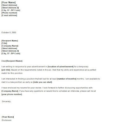 Temporary Position Cover letter  Template Sample