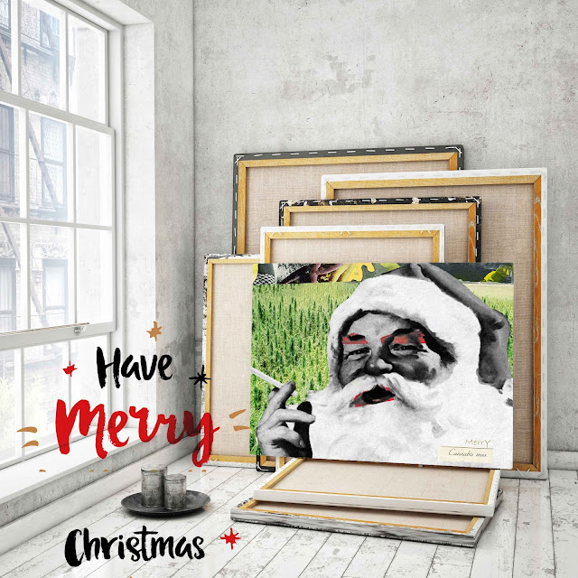 Fine Art Greeting Card  Merry Merry Cannabis mas - Ricki Mountain