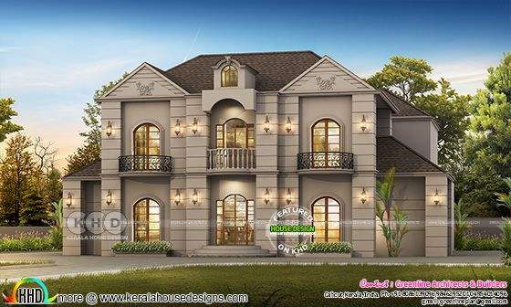 Luxury Colonial house plan with 5 BHK