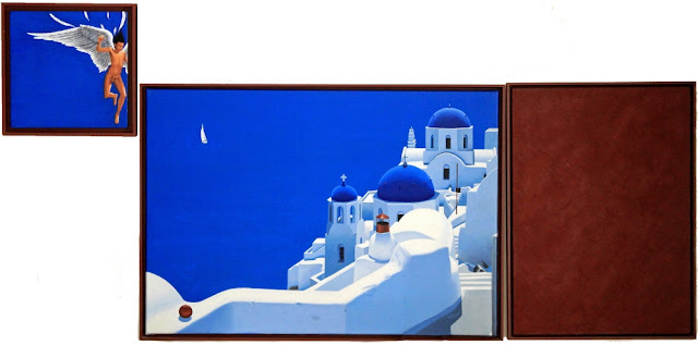 cyclades,icare,thira,santorin,monochrome rouge