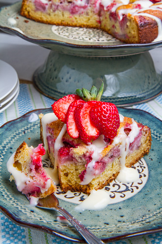 Strawberries and Cream Coffee Cake with Vanilla Cream Cheese Glaze Recipe