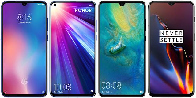 Xiaomi Mi 9 64G vs Honor View 20 128 GB vs Huawei Mate 20 vs OnePlus 6T 128 GB