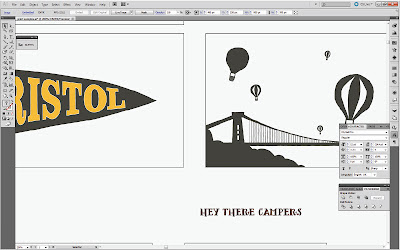 Bristol pennant flag and Clifton Suspension Bridge detail from up-and-coming cards and notelets