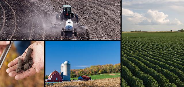 Photo collage: tractor spreading fertilizer, healthy soybean field, soil test, farm scene.