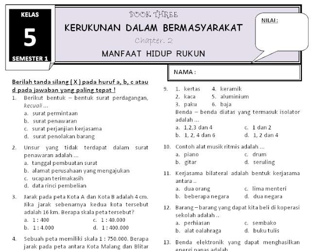 Soal Ujian Sd Kelas 1 Tematik Soal Uts Tematik Kelas Semester 1 Ganjil Blog Sunadinata Download
