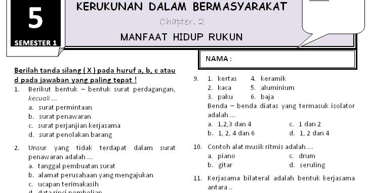 Download Soal Kelas 5 - Tema 3 Subtema 2 ~ Rief Awa Blog