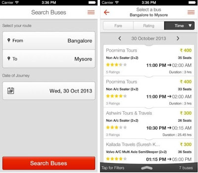 RedBus.in iOS app for book bus tickets