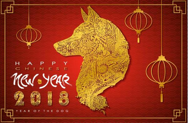 Happy chinese new year background with 2018 year of the dog vector download